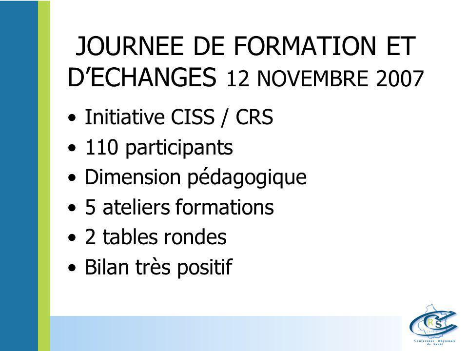 JOURNEE DE FORMATION ET D'ECHANGES 12 NOVEMBRE 2007