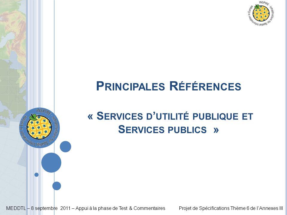 Principales Références « Services d'utilité publique et Services publics »