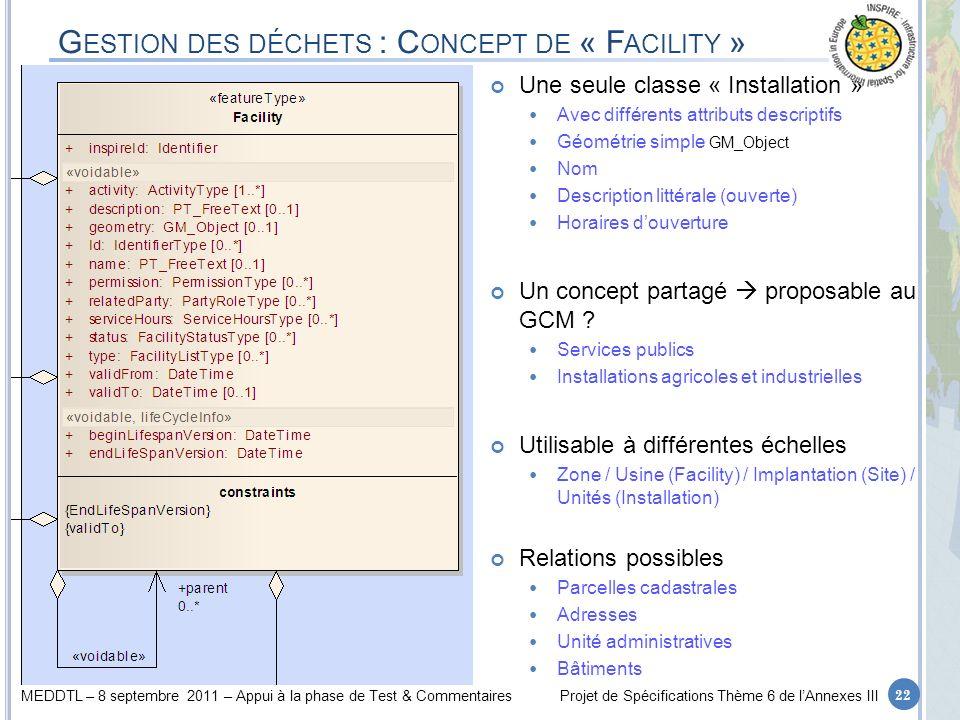 Gestion des déchets : Concept de « Facility »