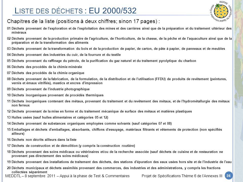 Liste des déchets : EU 2000/532Chapitres de la liste (positions à deux chiffres; sinon 17 pages) :