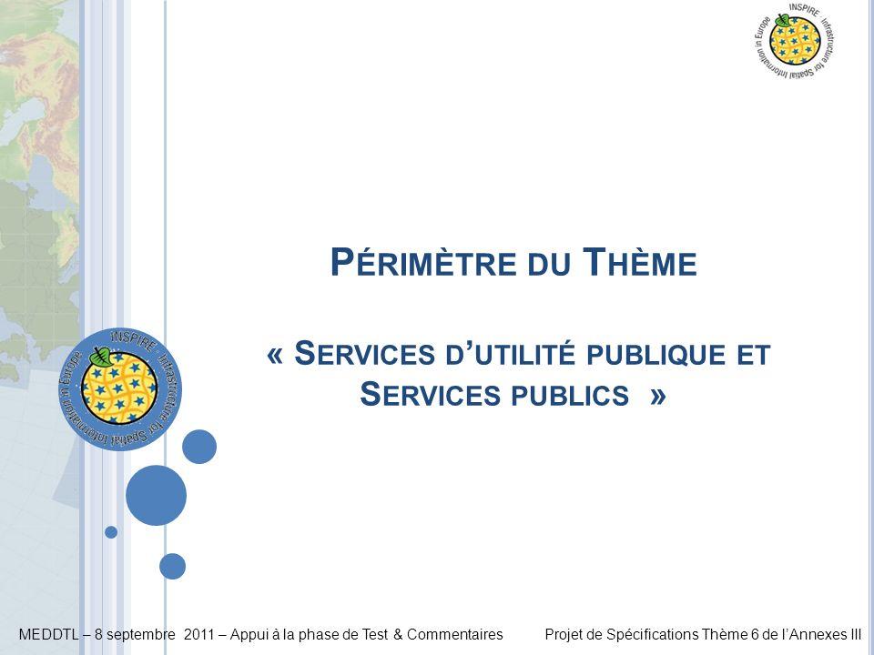 Périmètre du Thème « Services d'utilité publique et Services publics »