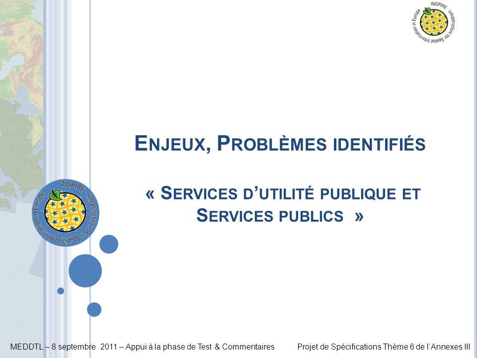 Enjeux, Problèmes identifiés « Services d'utilité publique et Services publics »