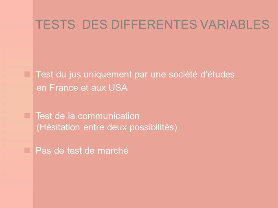TESTS DES DIFFERENTES VARIABLES