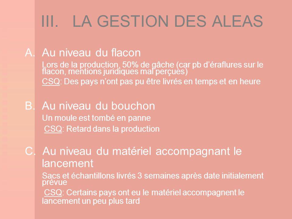 III. LA GESTION DES ALEAS