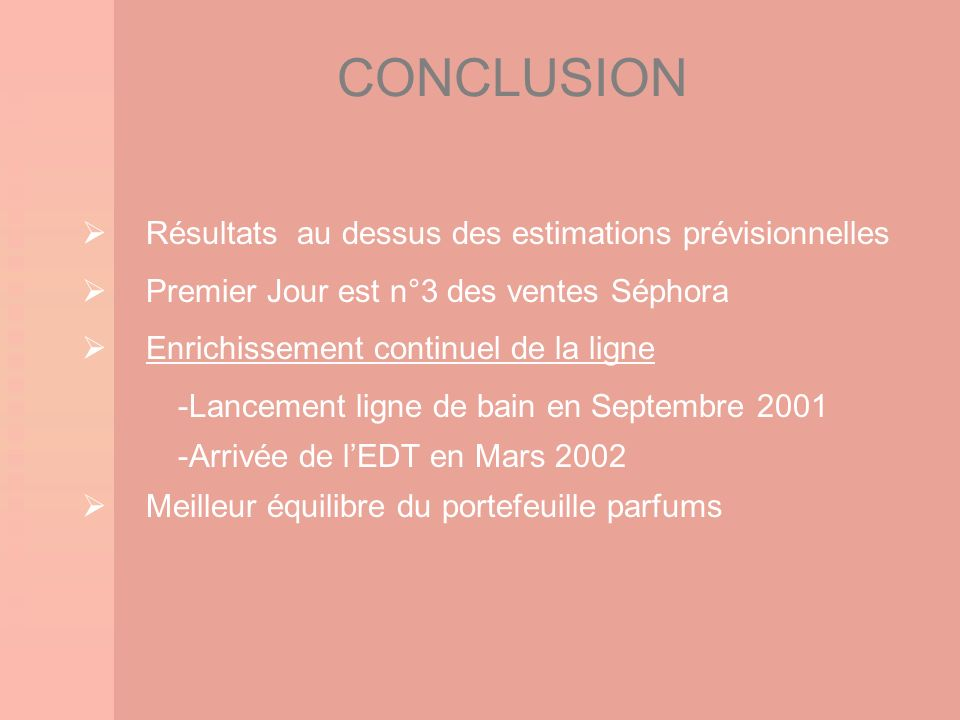 CONCLUSION Résultats au dessus des estimations prévisionnelles