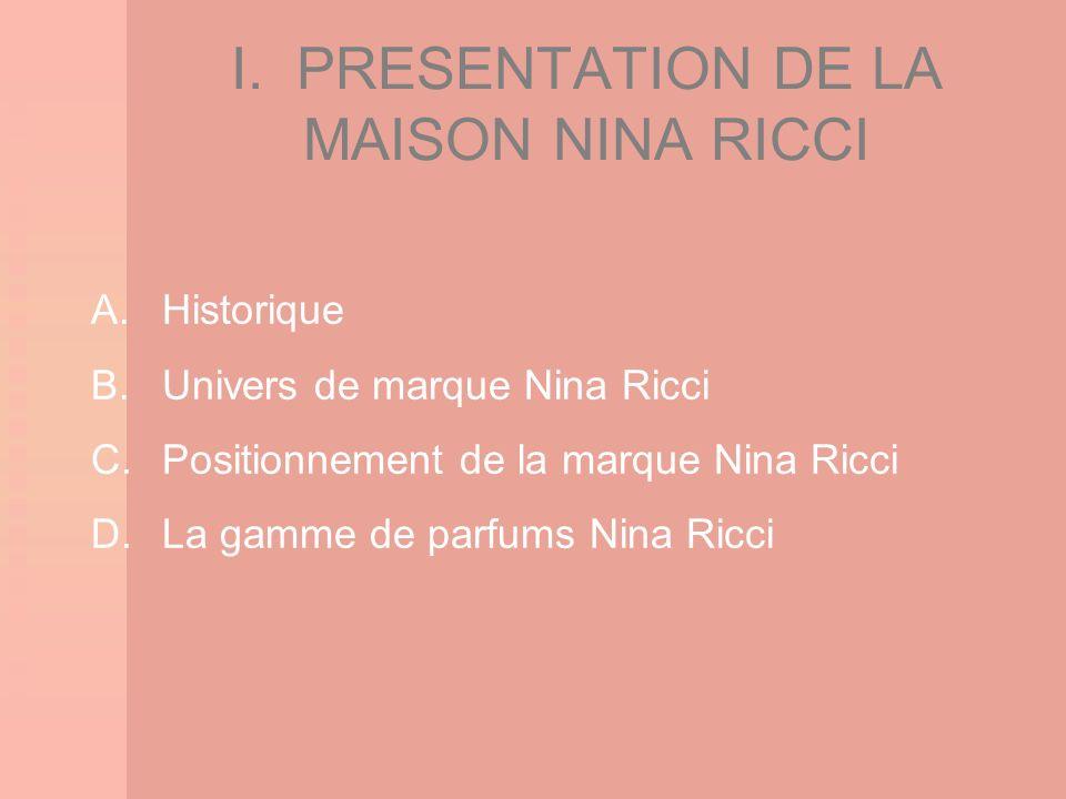 I. PRESENTATION DE LA MAISON NINA RICCI