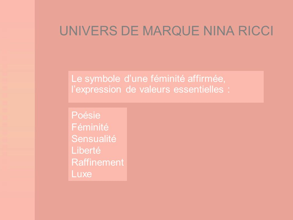 UNIVERS DE MARQUE NINA RICCI