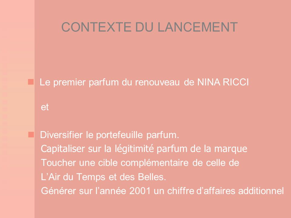 CONTEXTE DU LANCEMENT  Le premier parfum du renouveau de NINA RICCI