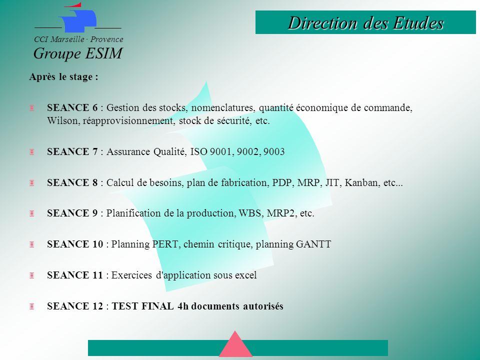Après le stage : SEANCE 6 : Gestion des stocks, nomenclatures, quantité économique de commande, Wilson, réapprovisionnement, stock de sécurité, etc.