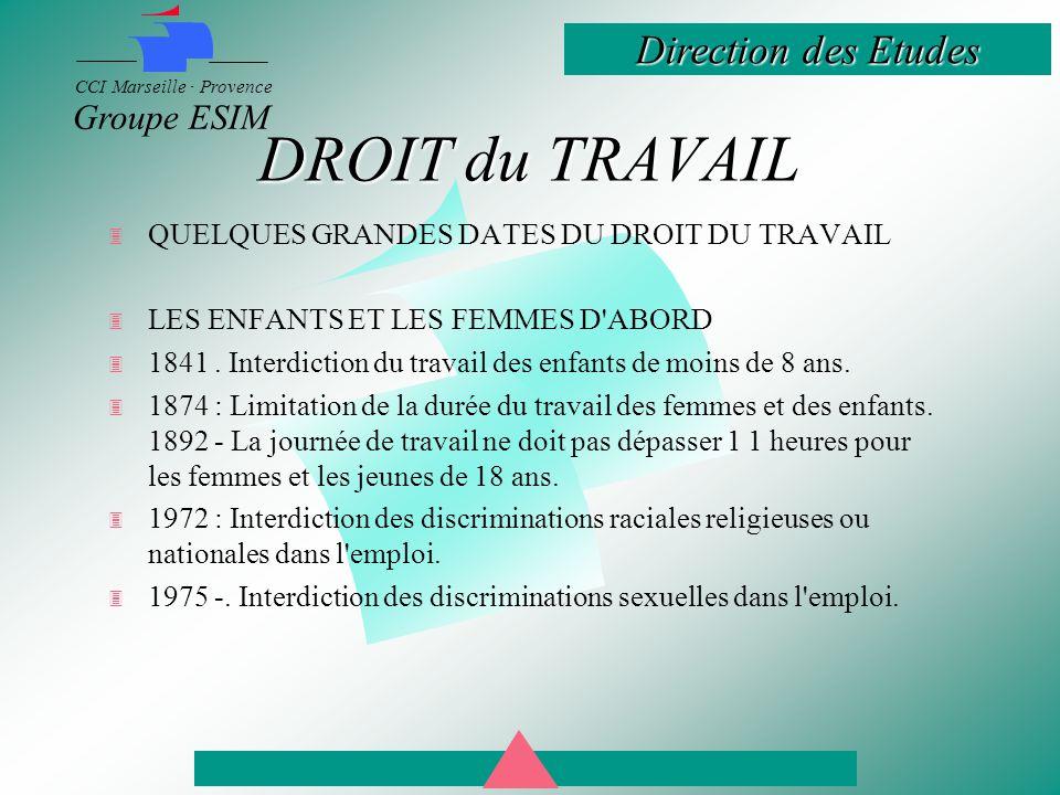 DROIT du TRAVAIL QUELQUES GRANDES DATES DU DROIT DU TRAVAIL