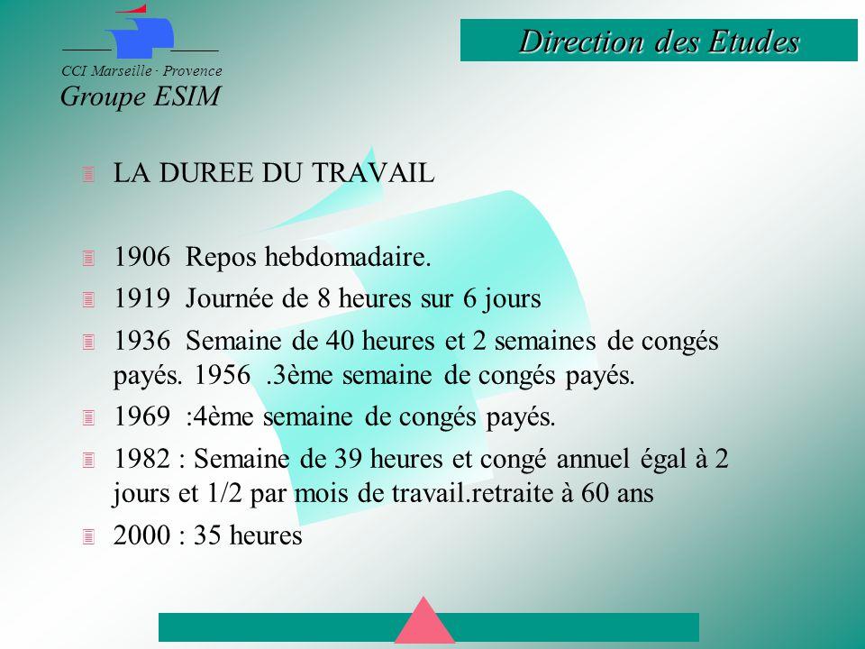 LA DUREE DU TRAVAIL 1906 Repos hebdomadaire. 1919 Journée de 8 heures sur 6 jours.