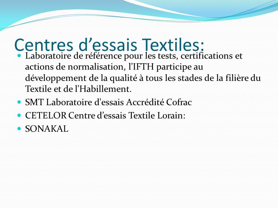 Centres d'essais Textiles: