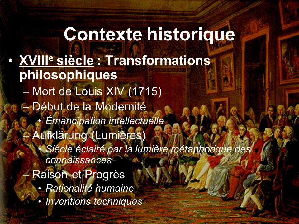 Contexte historique XVIIIe siècle : Transformations philosophiques