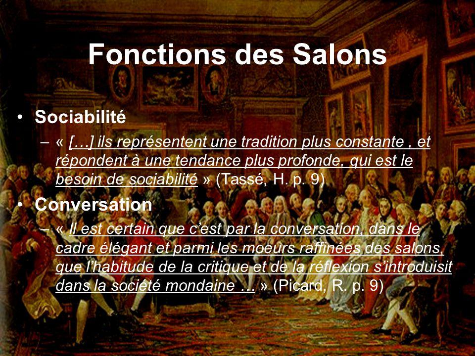 Fonctions des Salons Sociabilité Conversation