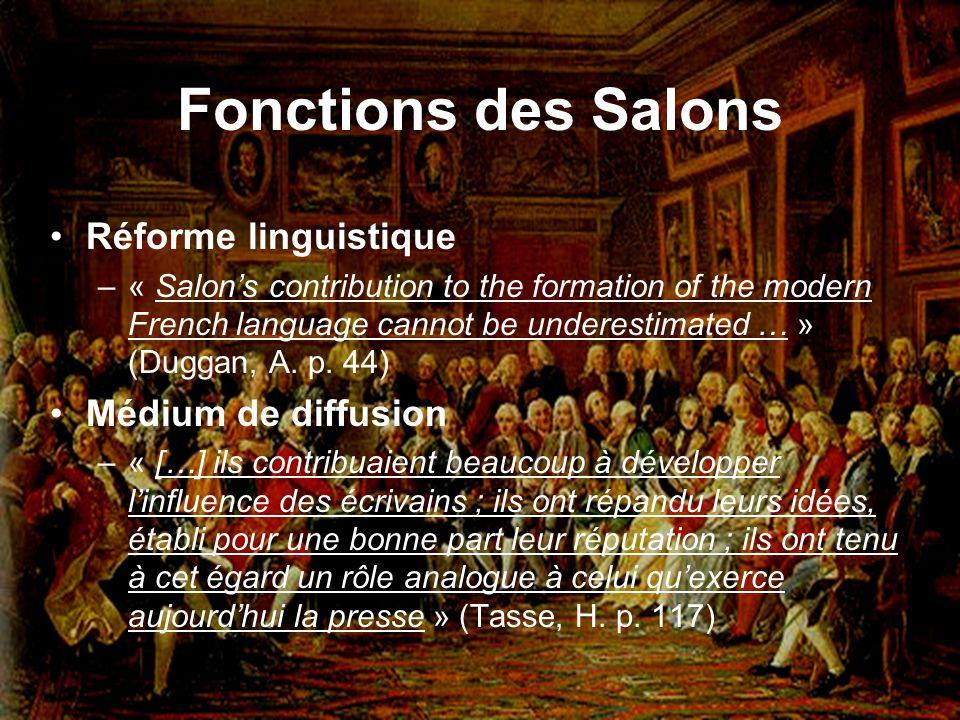 Fonctions des Salons Réforme linguistique Médium de diffusion