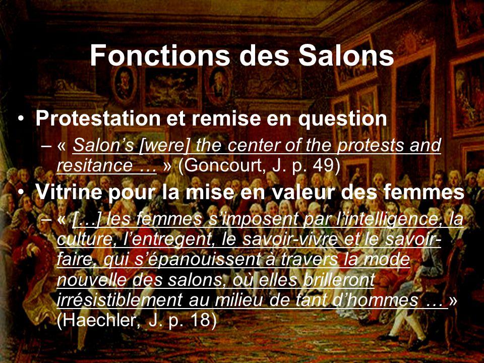 Fonctions des Salons Protestation et remise en question