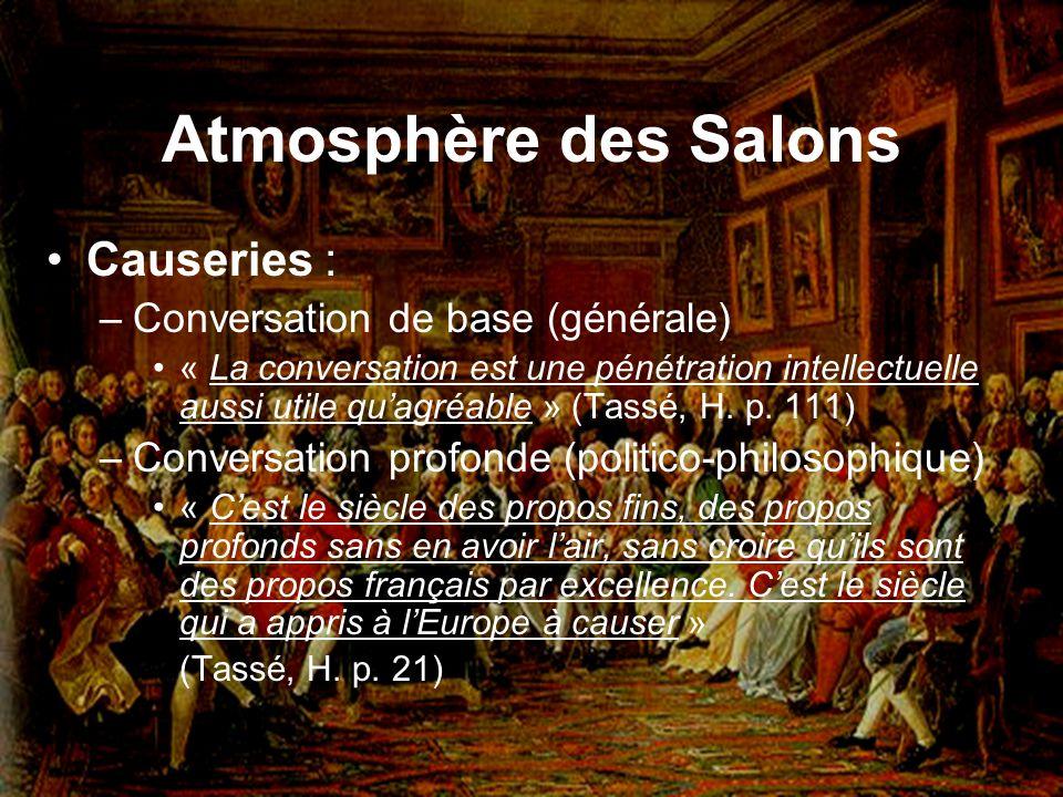 Atmosphère des Salons Causeries : Conversation de base (générale)