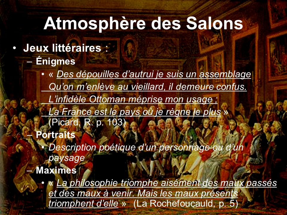 Atmosphère des Salons Jeux littéraires : Énigmes