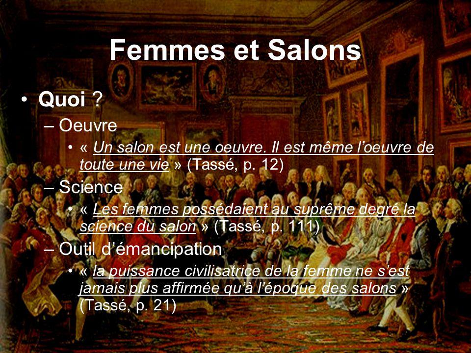 Femmes et Salons Quoi Oeuvre Science Outil d'émancipation