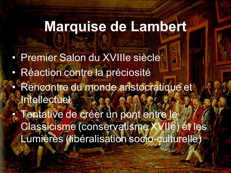 Marquise de Lambert Premier Salon du XVIIIe siècle