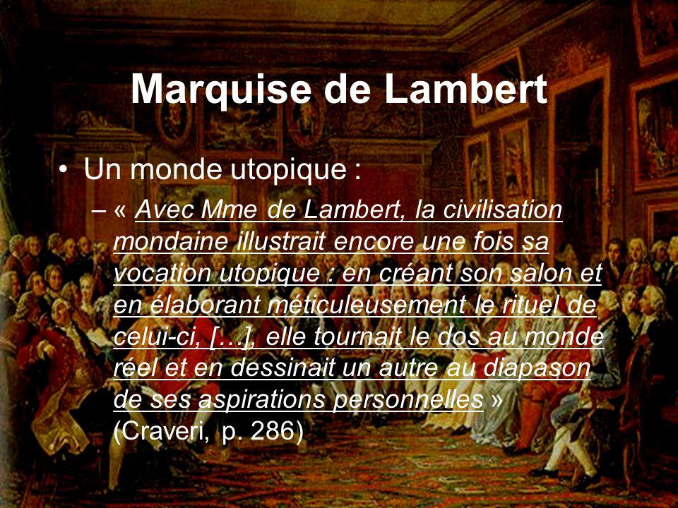 Marquise de Lambert Un monde utopique :