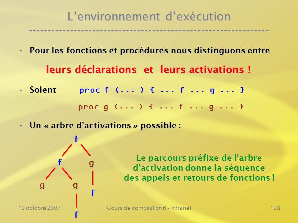 L'environnement d'exécution ----------------------------------------------------------------