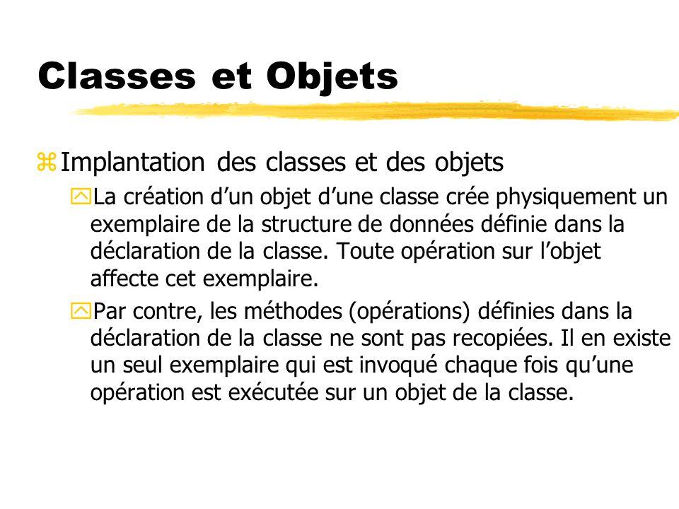 Classes et Objets Implantation des classes et des objets