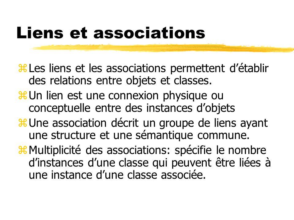 Liens et associations Les liens et les associations permettent d'établir des relations entre objets et classes.