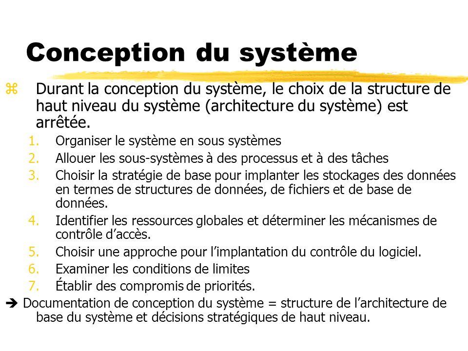 Conception du système Durant la conception du système, le choix de la structure de haut niveau du système (architecture du système) est arrêtée.