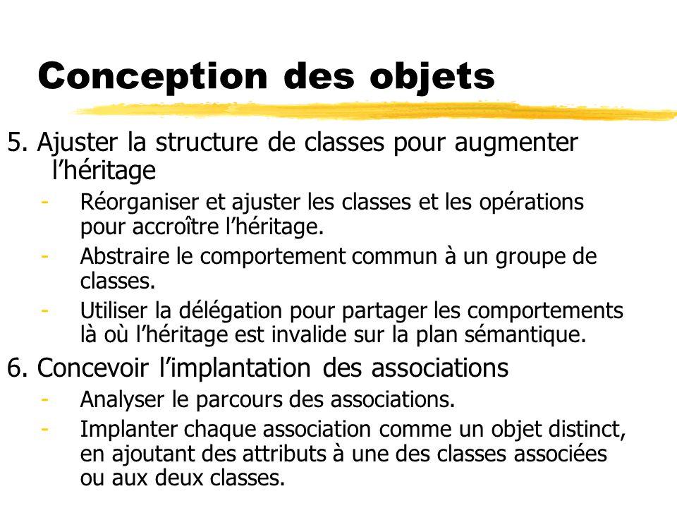 Conception des objets 5. Ajuster la structure de classes pour augmenter l'héritage.