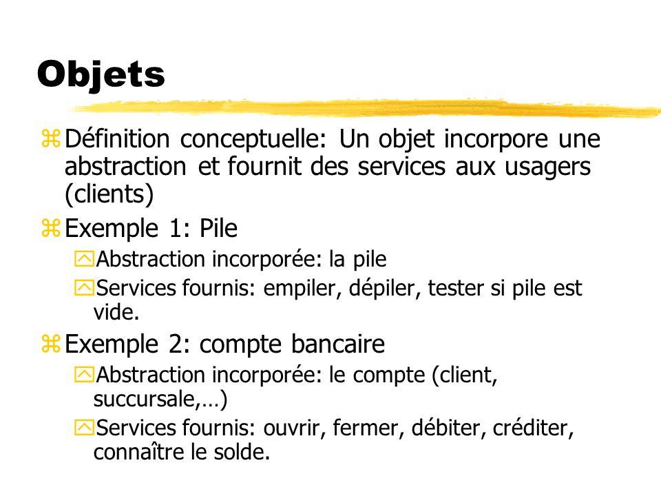 Objets Définition conceptuelle: Un objet incorpore une abstraction et fournit des services aux usagers (clients)