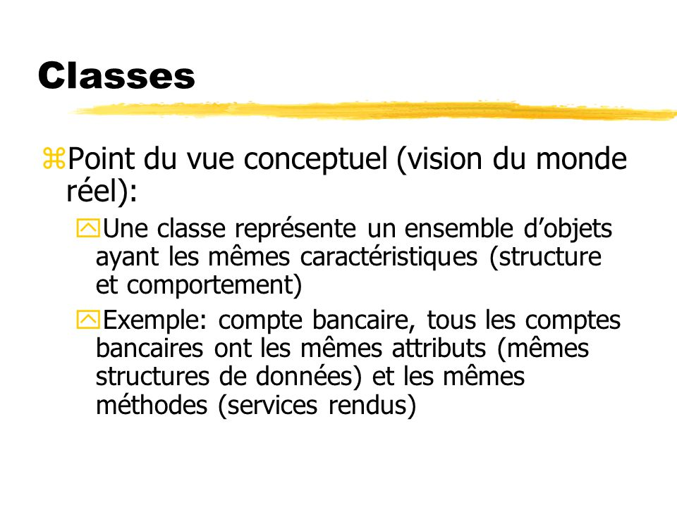 Classes Point du vue conceptuel (vision du monde réel):