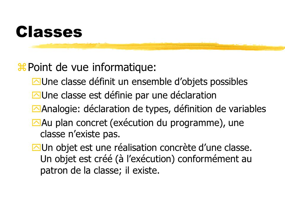 Classes Point de vue informatique: