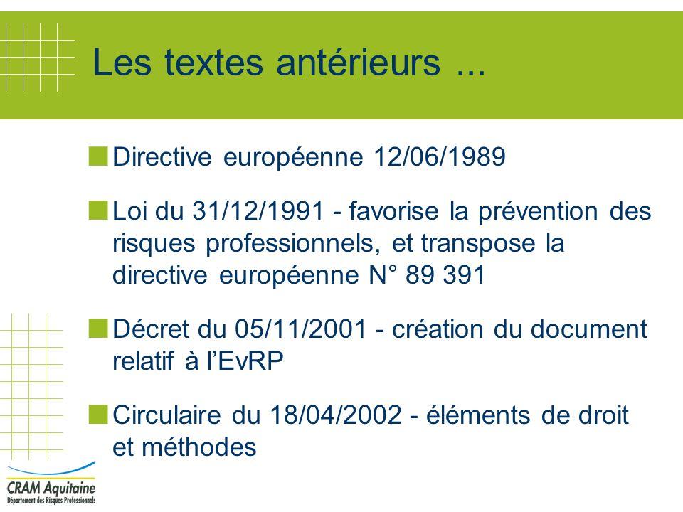 Les textes antérieurs ... Directive européenne 12/06/1989