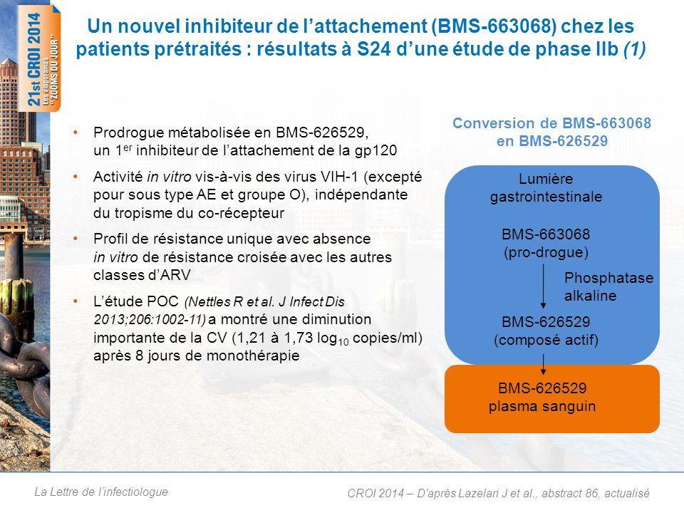 Un nouvel inhibiteur de l'attachement (BMS-663068) chez les patients prétraités : résultats à S24 d'une étude de phase Iib (2)