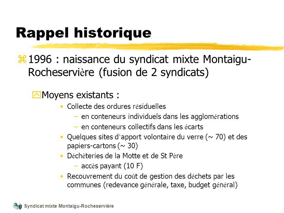 Rappel historique1996 : naissance du syndicat mixte Montaigu-Rocheservière (fusion de 2 syndicats) Moyens existants :