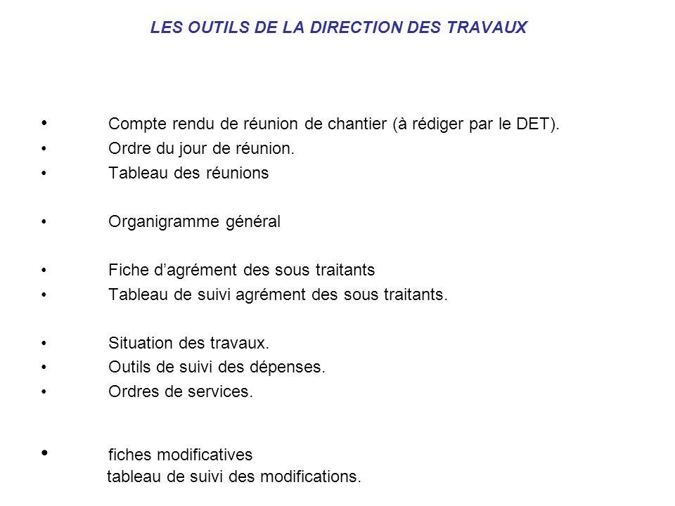 LES OUTILS DE LA DIRECTION DES TRAVAUX