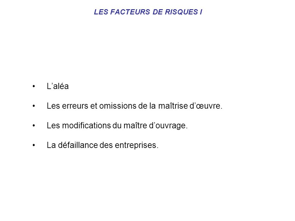 LES FACTEURS DE RISQUES I