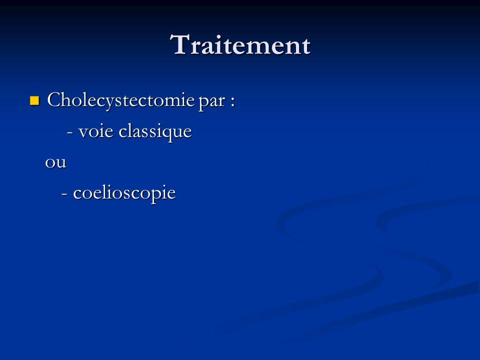 Traitement Cholecystectomie par : - voie classique ou - coelioscopie