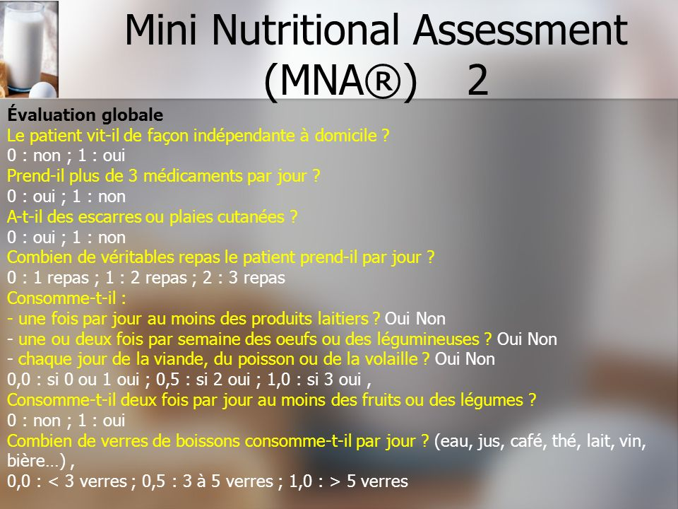 Mini Nutritional Assessment (MNA®) 2