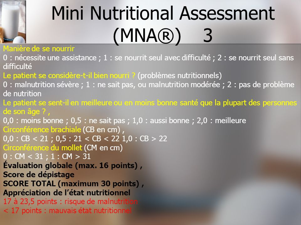 Mini Nutritional Assessment (MNA®) 3