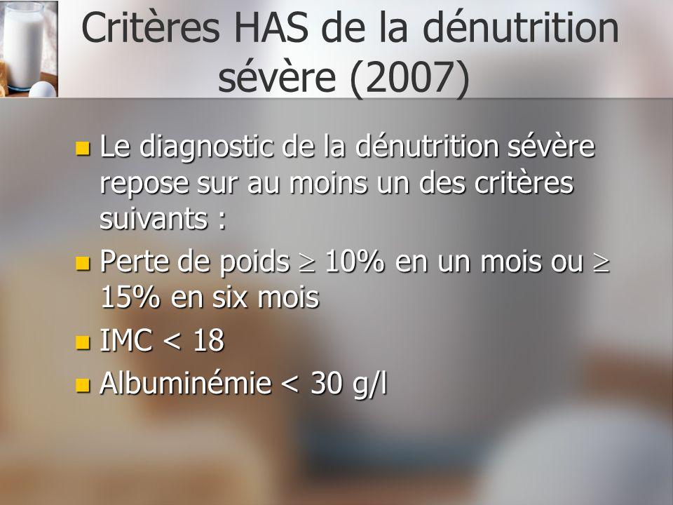 Critères HAS de la dénutrition sévère (2007)