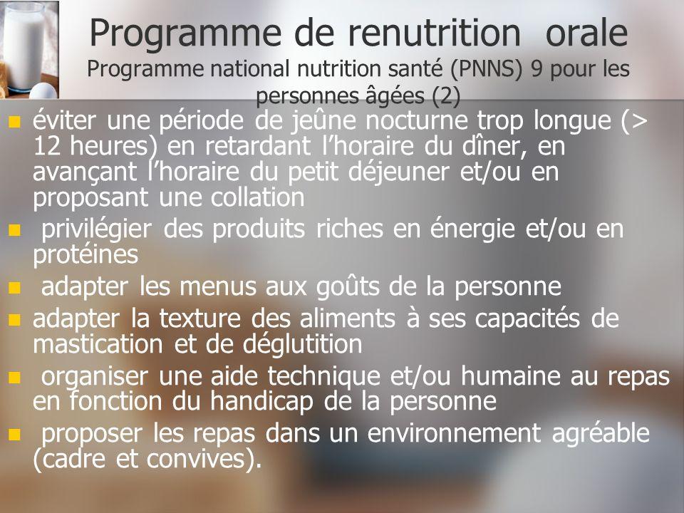 Programme de renutrition orale Programme national nutrition santé (PNNS) 9 pour les personnes âgées (2)