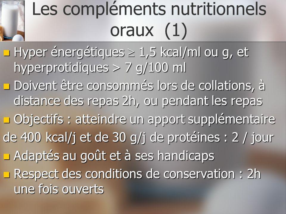 Les compléments nutritionnels oraux (1)