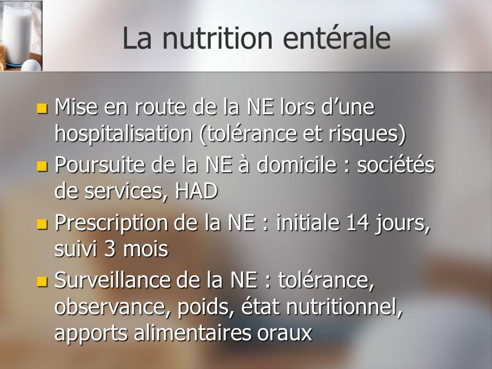 La nutrition entéraleMise en route de la NE lors d'une hospitalisation (tolérance et risques)