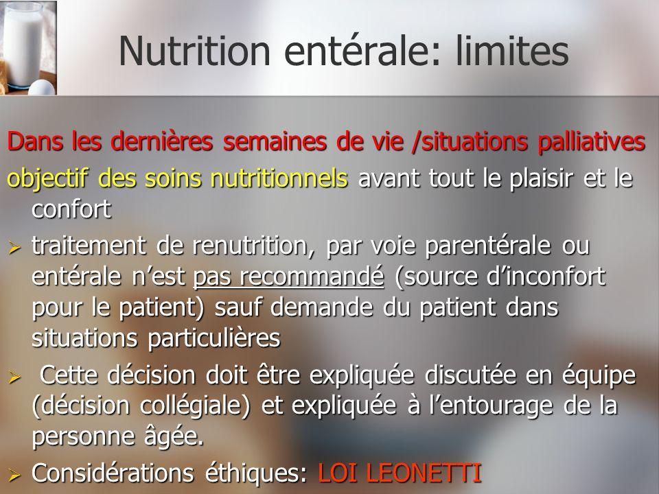 Nutrition entérale: limites