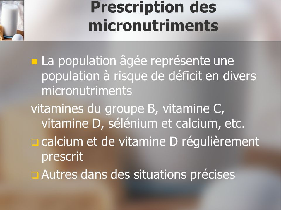 Prescription des micronutriments