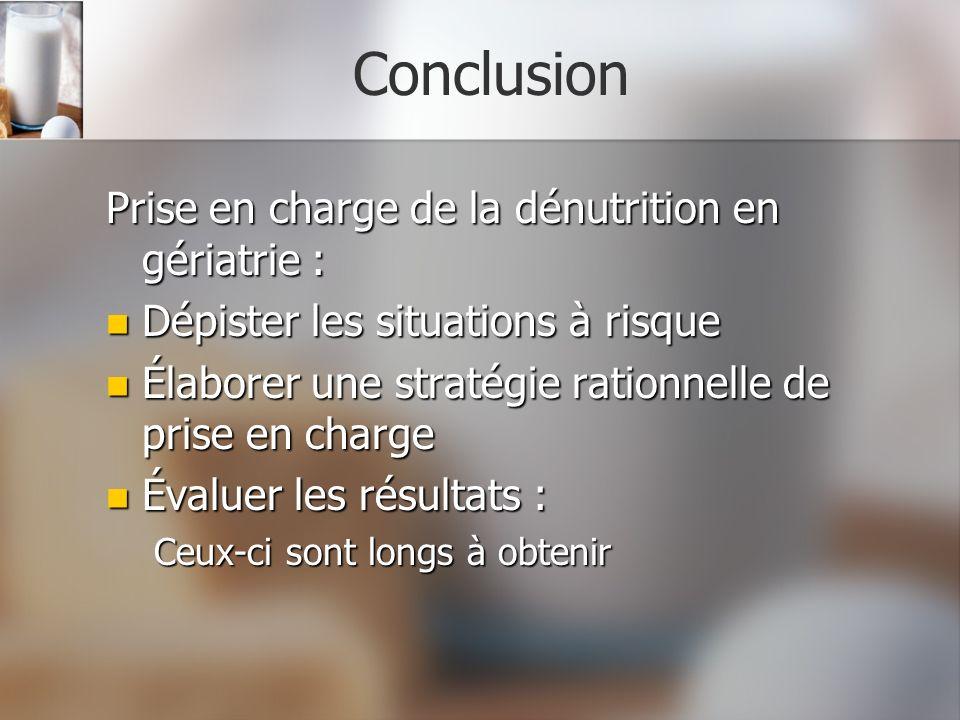 Conclusion Prise en charge de la dénutrition en gériatrie :
