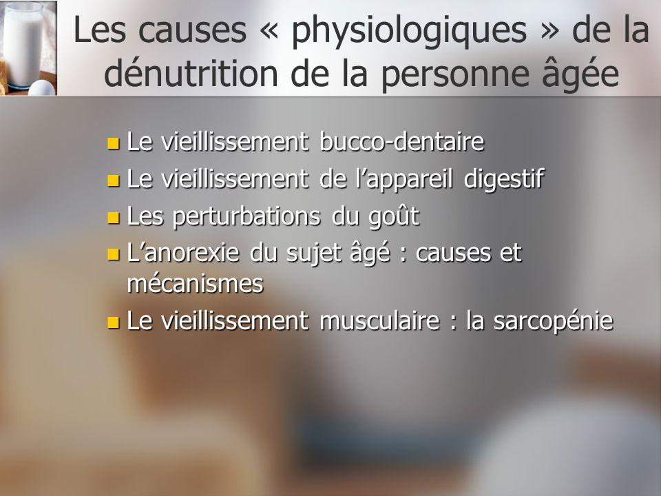 Les causes « physiologiques » de la dénutrition de la personne âgée