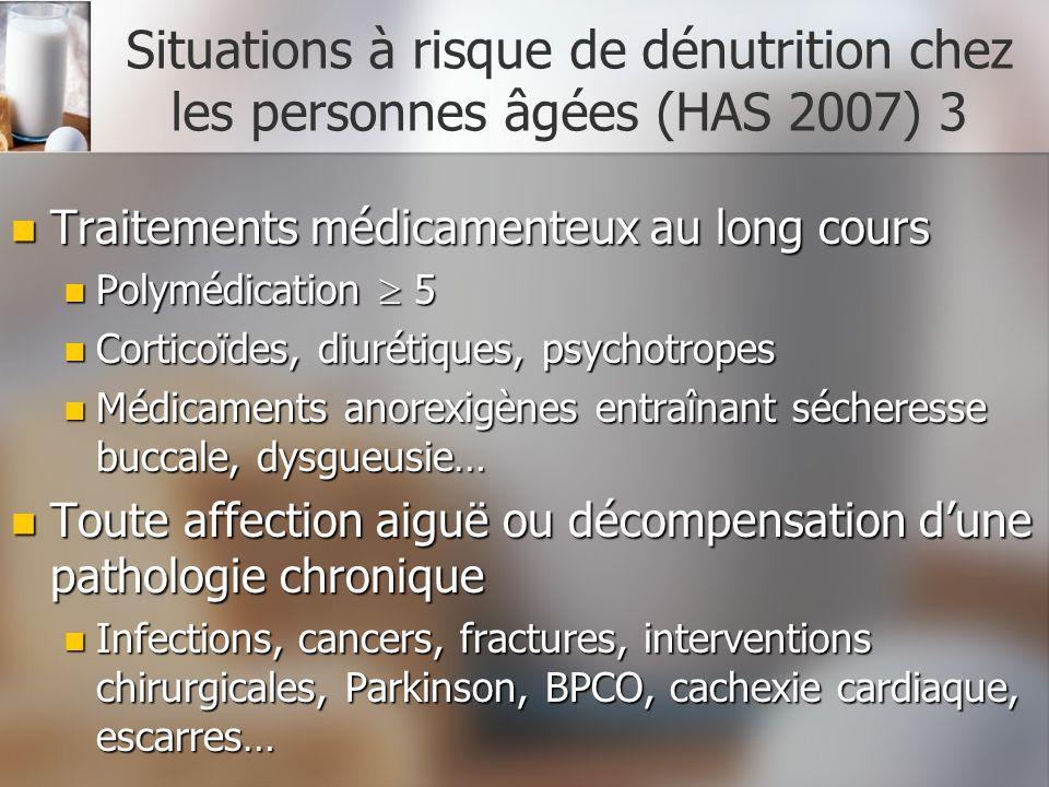 Situations à risque de dénutrition chez les personnes âgées (HAS 2007) 3